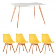 Обеденная группа Frank, 4 желтых стула Frankfurt