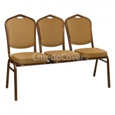 Секция из 3 стульев Хит - коричневый, ромб коричневый