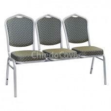 Секция из 3 стульев Хит - серебро, ромб синий