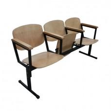 Секция стульев деревянная с подлокотниками