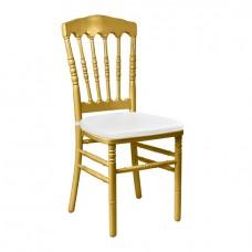 Стул Наполеон золотой, деревянный - с белой подушкой