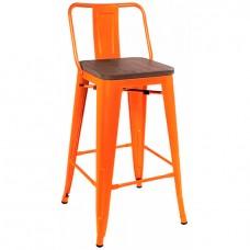 Стул Tolix Wood со спинкой полубарный Оранжевый матовый