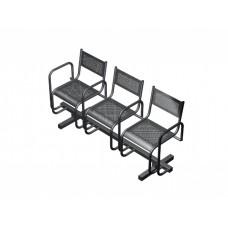 Секция перфорированная СП2.113 из 3-х стульев с подлокотниками