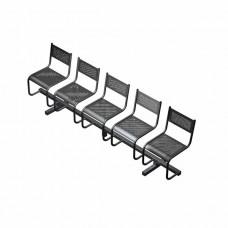 Секция перфорированная СП3.105 из 5-х стульев низкая спинка, без подлокотников