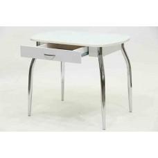 Стол Гала-12 стекло, кожзам, ножки хром