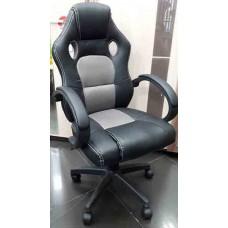 Кресло офисное НО-9043 черный кожзам/серая ткань