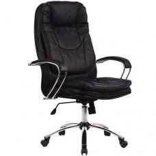 Кресло офисное Люкс 11-П натуральная кожа хромированное пятилучье
