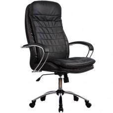 Кресло офисное Люкс 3-П натуральная кожа хромированное пятилучие