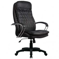 Кресло офисное Люкс 3-П натуральная кожа пластиковое пятилучие