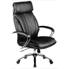 Кресло офисное Люкс-13 натуральная экокожа пятилучье хром