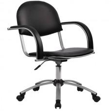 Кресло офисное Бэйсик экокожа пятилучие матовый хром