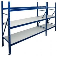 Нордика грузовой стеллаж 200х100х60 см отдельностоящий 3 уровня полок белый